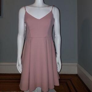 Macy's | Mauve Blush Pleated Skater Dress | Spaghe